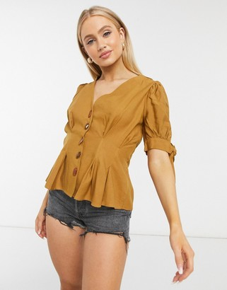 Moon River fitted waist blouse with stone detail buttons in camel