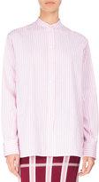 Victoria Beckham Candy-Stripe Band-Collar Cotton Shirt, White/Pink