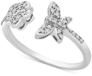 Wrapped Diamond Butterfly & Flower Statement Ring in 14k White Gold, Created for Macy's