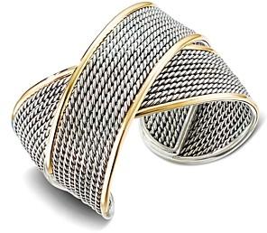 David Yurman Sterling Silver & 18K Yellow Gold Origami Large Crossover Cuff Bracelet