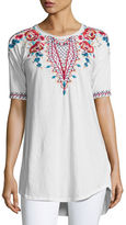 Johnny Was Mina Dropped-Shoulder Embroidered Tee