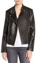 Cole Haan Women's Leather Moto Jacket With Quilted Details