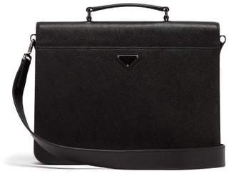 Prada Logo Saffiano Leather Document Holder - Mens - Black