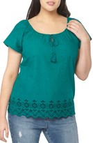 Evans Plus Size Women's Off The Shoulder Embroidered Top