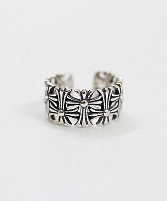 Silver Cross Hands And Hearts Hands and Hearts Women's Rings white - Sterling Ball-Accent Ring