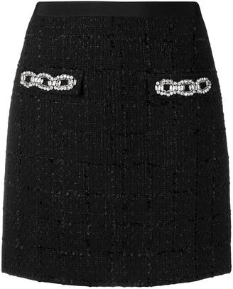 Blumarine Embellished Tweed Mini Skirt