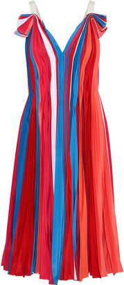 Prabal Gurung Pleated Color-block Silk Crepe De Chine Dress