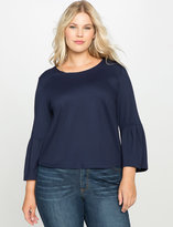 ELOQUII Plus Size Pleated Sleeve Top