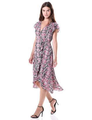 Adrianna Papell Women's Snakeskin Print Wrap Dress