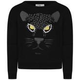 Relish RelishGirls Black Diamante Cat Eyes Sweater