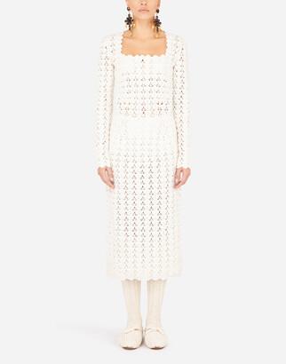 Dolce & Gabbana Wool Crochet Midi Dress