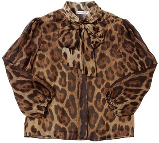 Dolce & Gabbana Leopard Print Silk Chiffon Shirt