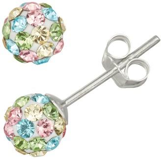 Charming Girl Kids' Sterling Silver Pastel Crystal Fireball Stud Earrings