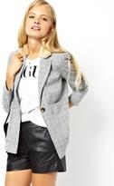 Asos Blazer in Check with Faux Fur Collar - Black/white
