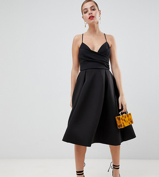 Asos DESIGN Petite scuba cami prom midi dress