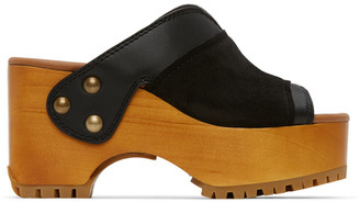 See by Chloe Black Nappa Mat Heeled Sandals