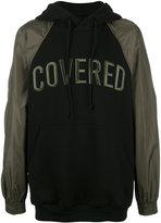 Juun.J Covered contrast sleeve hoodie