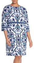 Vince Camuto Plus Size Women's Print Crepe Shift Dress