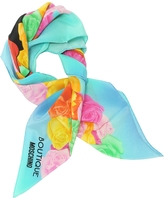 Moschino Boutique Light Blue and Multicolor Olive Oyl Cartoon & Roses Printed Crepe Silk Square Scarf
