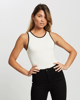 Atmos & Here Atmos&Here - Women's White Bodysuits - Stevie Contrast Bodysuit - Size 6 at The Iconic