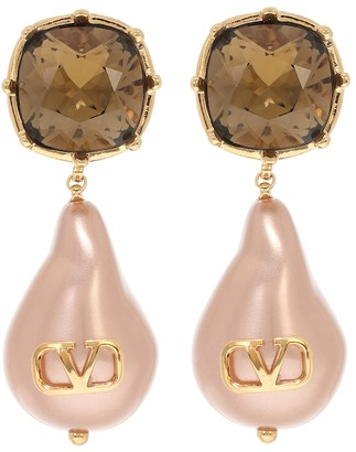 Valentino VLOGO bead pearls and crystal earrings