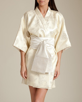 Daniel Hanson Silk Silk Filigree Jacquard Short Kimono
