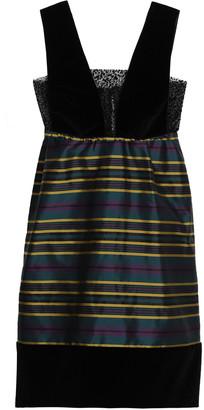 Isa Arfen Cotton-blend Velvet And Striped Satin-twill Mini Dress