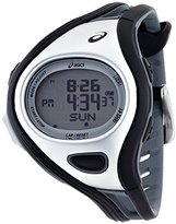 Asics Unisex CQAR0301 Challenge Black and Silver-Tone Digital Running Watch