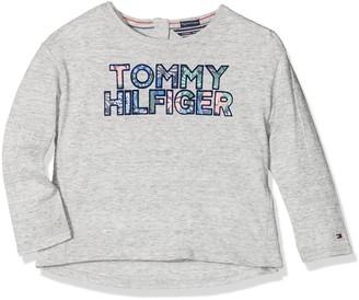 Tommy Hilfiger Girl's AME Logo Flock Cn Knit L/s Long Sleeve Top