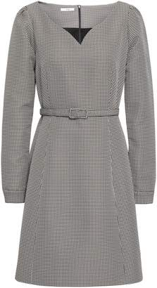 Co Belted Houndstooth Woven Mini Dress