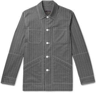 Versace Pinstriped Virgin Wool Shirt Jacket