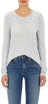 ATM Anthony Thomas Melillo Women's Distressed Cotton-Blend Long-Sleeve T-Shirt-LIGHT GREY