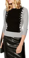 Karen Millen Fine Gauge Knit Eyelet Jumper, Grey/Multi