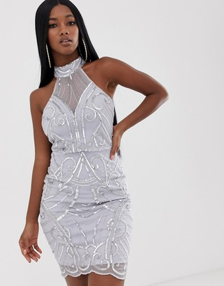Lipsy high neck sequin dress in sliver-Silver