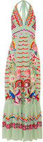 Temperley London Chimera Embroidered Silk-chiffon Maxi Dress - Mint