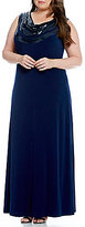 Calvin Klein Plus Matte Jersey Sequin Cowl-Neck Sheath Dress