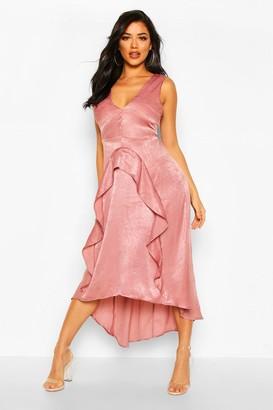 boohoo Satin Ruflle Maxi Dress