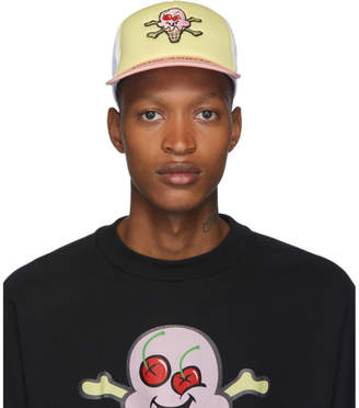 Palm Angels White and Yellow ICECREAM Edition Skull Cap