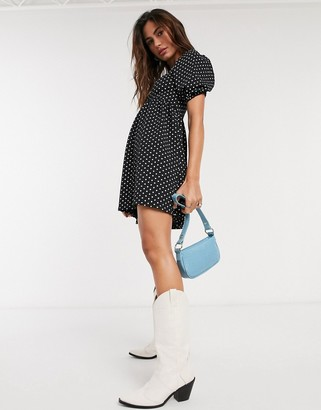 Topshop baby doll mini dress in monochrome spot
