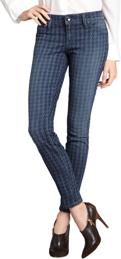 Level 99 blue herringbone print stretch denim skinny jeans