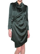 A.F.Vandevorst Draped Asymmetric Silk Satin Wrap Dress