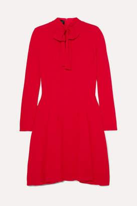 Giambattista Valli Pussy-bow Pleated Crepe Dress - Red