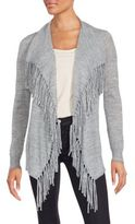 Rebecca Taylor Fringed Heathered Cardigan
