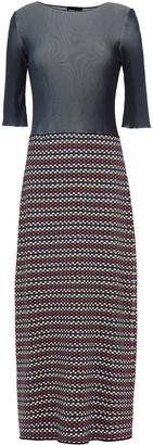 Giorgio Armani Paneled Intarsia And Ribbed-knit Midi Dress