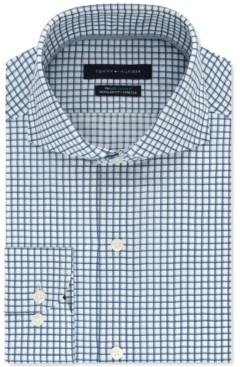 Tommy Hilfiger Men's Classic/Regular-Fit Non-Iron THFlex Supima Stretch Check Dress Shirt