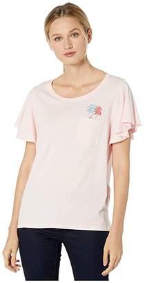 Tommy Bahama Pocket Icon Flutter Sleeve Tee (Malibu Peach) Women's Clothing