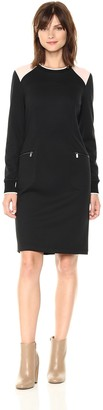 Jones New York Women's L/s Contrast Rib Trim Zip Pkt Sheath