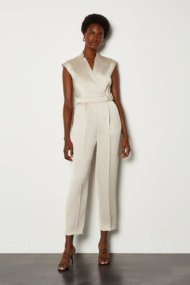 Karen Millen D Ring Collar Wrap Jumpsuit