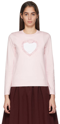 Comme des Garcons Pink Cut-Out Ruffle Heart Long Sleeve T-Shirt