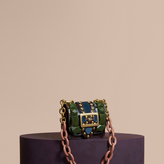 Burberry The Mini Square Buckle Bag in Ostrich, Snakeskin and Velvet